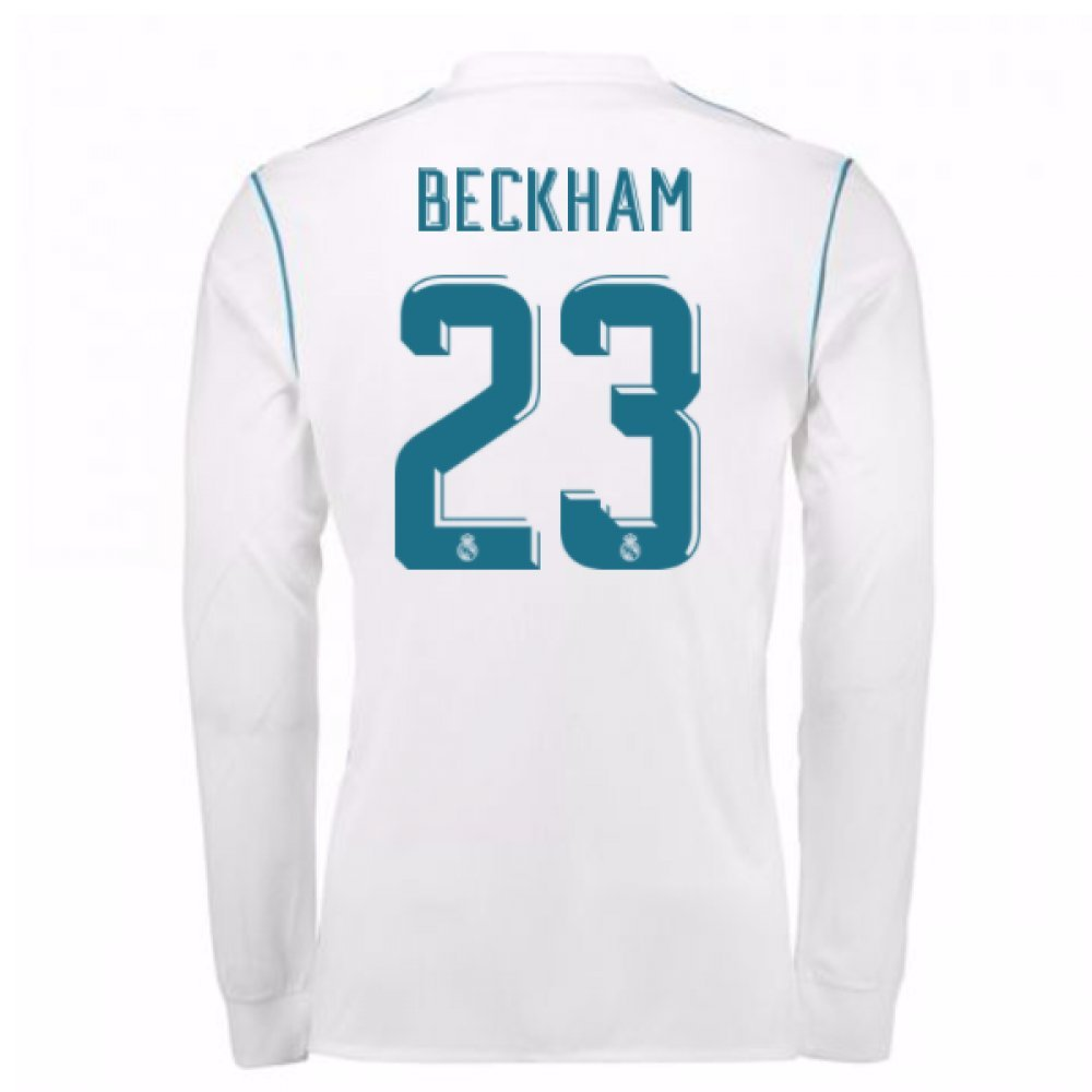 6ac409cce Amazon.com : UKSoccershop 2017-18 Real Madrid Long Sleeve Home Shirt - Kids  (Beckham 23) : Sports & Outdoors