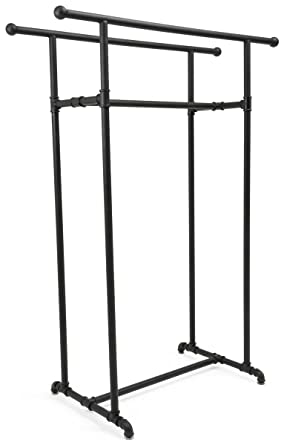 Amazon com: Displays2go, Pipe Clothing Rack with Double Pipe, Metal