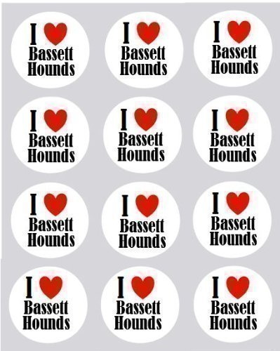 12 I Love Bassett Hounds design rice paper fairy / cup cake 40mm toppers pre cut decoration ()