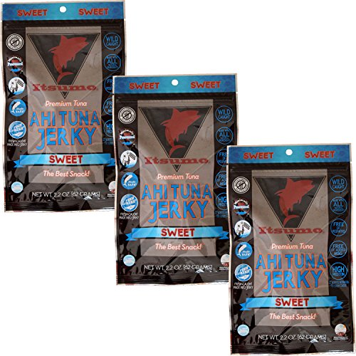 Itsumo Wild Ahi Tuna Fish Jerky Sweet (3 Packs) - Premium Sashimi Grade Yellowfin Tuna Fish - Healthy & All Natural Ingredients - Gluten Free Protein Snack
