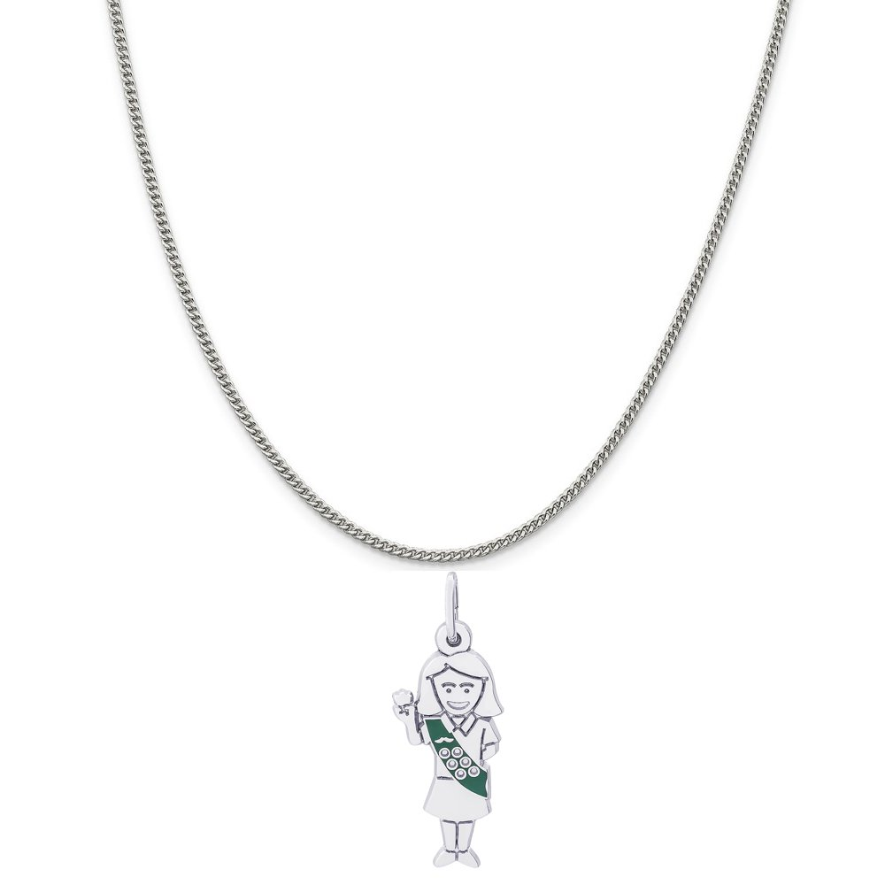 Rembrandt Charms Sterling Silver Enamel Painted Girl Scout Charm on a Curb Chain Necklace, 18'' by Rembrandt Charms