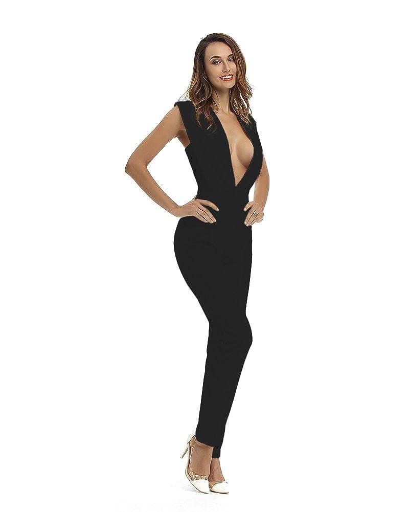 Amazon.com  Whoinshop Women s Sexy Deep V Neck Jumpsuit Stretch Bodycon  Party Romper Pants  Clothing a4e839139