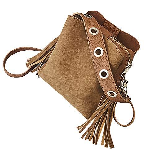 ♖Loosebee♜ Retro Crossbody Bags for Women, Fringed Bag Michael Kors Vintage Bucket Bag Leather Satchel Shoulder Tote Bags Brown