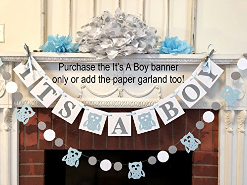 Woodland Owl baby shower decorations - It's a boy baby shower - forest It's a boy banner- blue and gray baby shower - your color choices ()