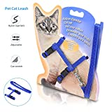 #5: Airsspu Cat Harness, Adjustable Harness Nylon Strap Collar with Leash, Cat Leash and Harness Set, For Cat and Small Pet Walking Blue