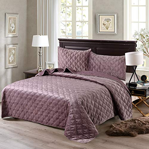 Exclusivo Mezcla Luxurious 3-Piece King Size Velvet Quilt Set with Pillow Shams, as Bedspread/Coverlet/Bed Cover(Purple) - Soft, Lightweight, Reversible& Hypoallergenic (King Size Quilts Velvet)