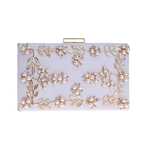 Pu Cadre Cuir De Mesdames MéTallique Fleur Clutches Perle Pochette White Sac SoiréE qBRRaWEA
