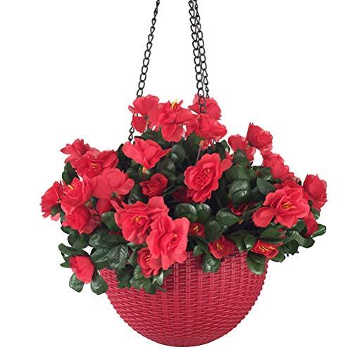 Lopkey Artificial Red Azalea Bush Flower Hanging Planter Resin Chain Hanging Basket for Indoor Outdoor Garden Porch Decor ()