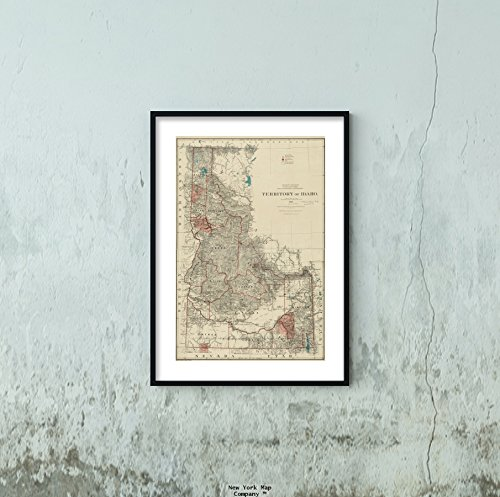 1888 Map Idaho Territory of Idaho Relief Shown by hachures. Prime meridians: Greenwich and Washingto|Vintage Fine Art Reproduction|Ready to Frame (Idaho Relief Map)