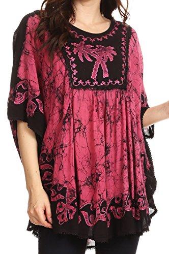 Sasquatch Bust (Sakkas 17030 - Lynda Two Tone Batik Embroidered Palm Tree Peasant Top / Poncho - Black / Pink - OS)