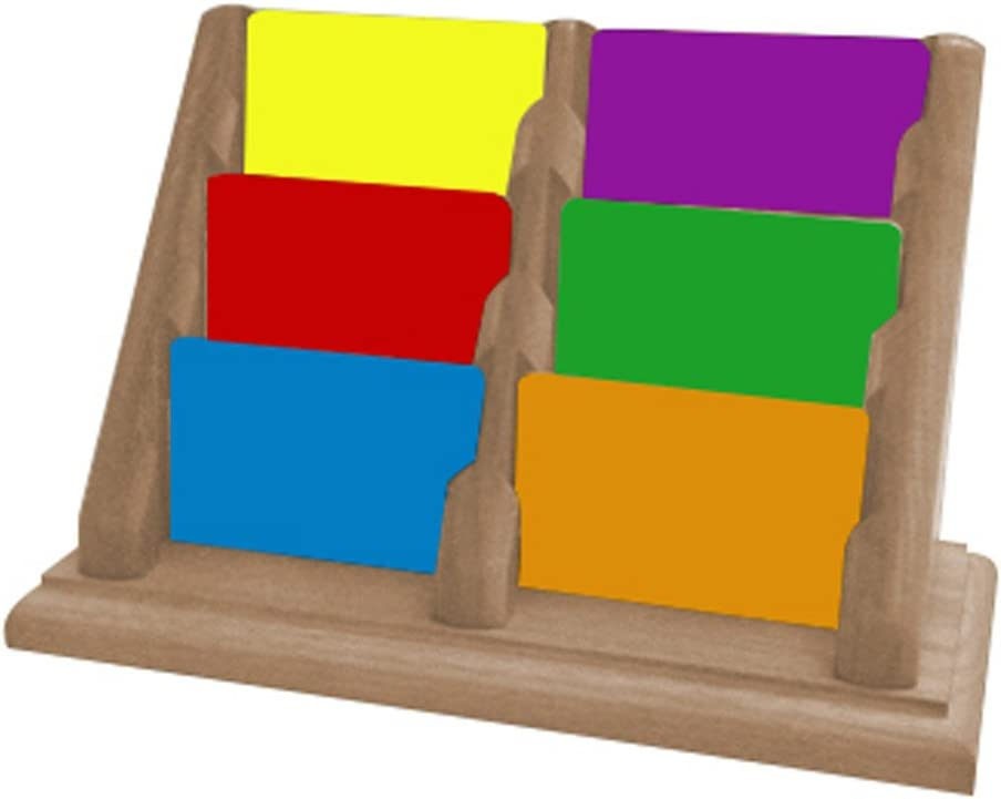 Wooden Mallet 3-Pocket Countertop Business Card Holder, Mahogany