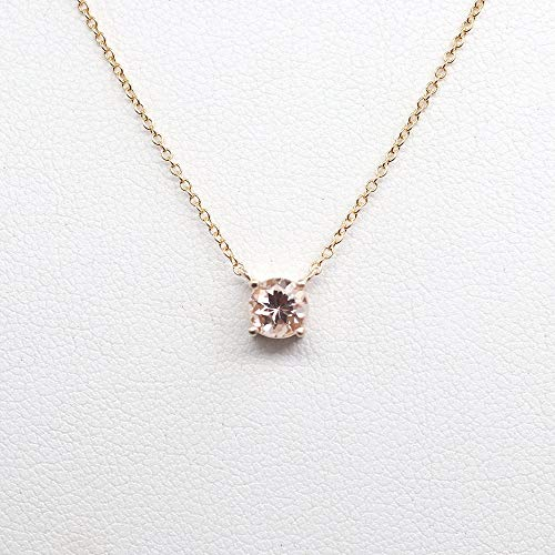 (Morganite Solitaire Necklace, Dainty 4 Prong Necklace, 14k Rose gold, White gold, and Yellow gold Necklace for Women)