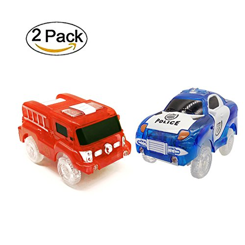 MIGE Light Up Car Toy ,Fire Car And Police Car, 5-LED Lights
