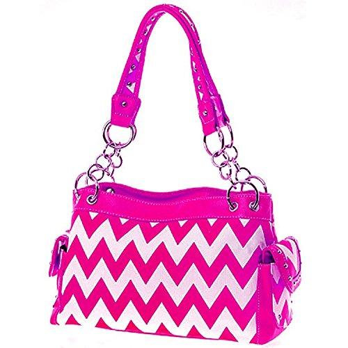 Cute & Trendy! Chevron Zig Zag Print Satchel Purse Handbag (Hot -