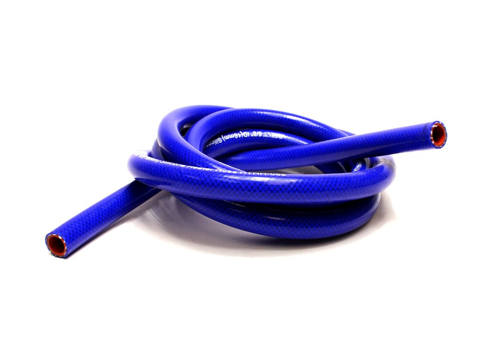 HPS 1/4' ID Blue high temp reinforced silicone heater hose 10 feet roll, Max Working Pressure 85 psi, Max Temperature Rating: 350F, Bend Radius: 1' Bend Radius: 1 HPS Silicone Hoses HTHH-025-BLUEx10
