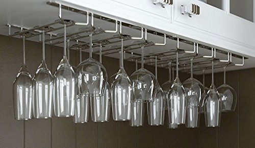 JMiles Under Cabinet Hanging Stemware Rack Hold Up To 24 Wine Glasses (Chrome) (Wine Glasses 24)