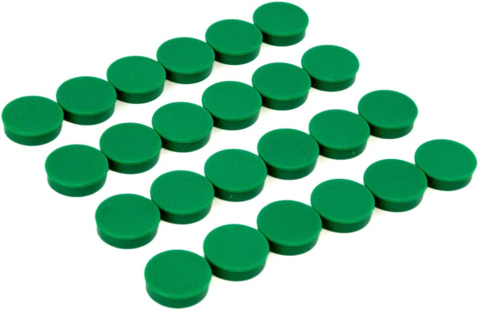 Bullseye Office Magnets (24 Pack) - Green Round, Refrigerator Magnets - Perfect as Whiteboards, Lockers, or Fridge Magnets [Green]