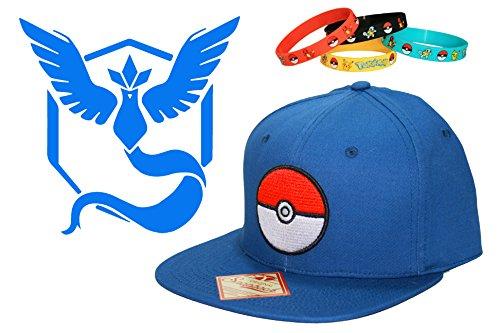 Pokemon Go Team Mystic, Valor and Instinct Snapback Cap Hat with 4-Pack Bracelets (Team Mystic - (Pokemon Pearl Pachirisu)
