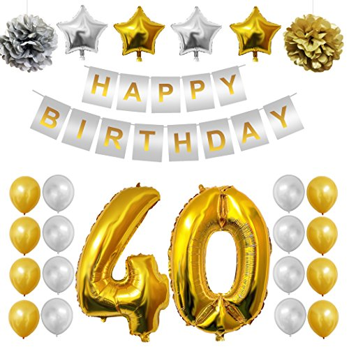 Complete 40th Happy Birthday Party Balloons Set, Supplies & Decorations by Belle Vous - Large 40 Years Foil Balloon 12x Gold and Silver Latex Balloon Decoration Props- Decor Suitable for All Adults
