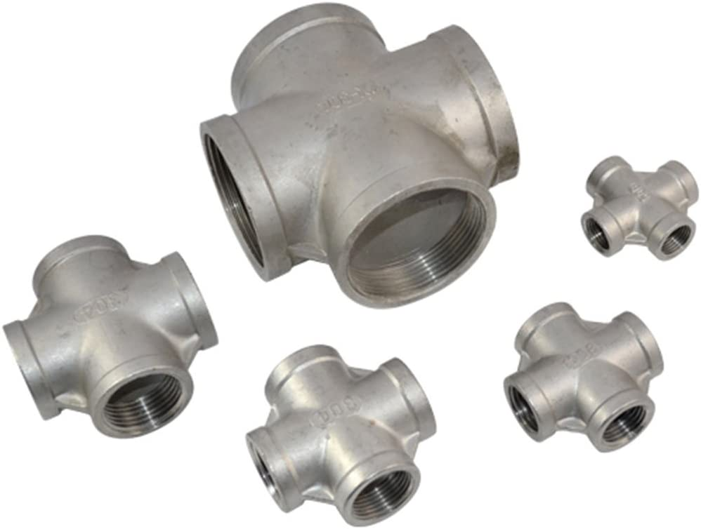 6 Points 2 Inches) 1.5 Inches Maniny Stainless Steel Four-Way Ball Valve, Thread 4 Way Female Cross Coupling Connector 304 Pipe Fitting New(4 Points 1 Inch