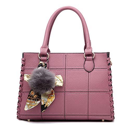 FLHT, Borsa Femminile, Borsa In Pelle Da Donna Di Moda PU Grande Capacità Borsa A Tracolla Messenger Bag Borsa Da Viaggio Cosmetici Lavoro Shopping Bag Sacchetto Di Immagazzinaggio Secchio Pink