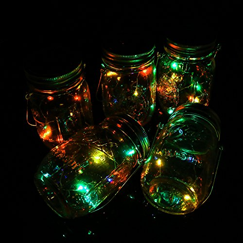 5 Pack Solar Mason Jar Light 10 Led Color Changing Fairy String Lights On Lids Insert For