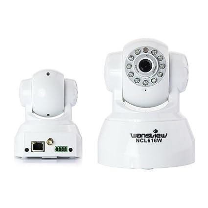 Wansview NCL-616W WiFi Wlan Pan Tilt IP Camaras de vigilancia con audio bidireccional, vision nocturna, salida de alarma, alarma via e-mail, FTP y Blanco: ...