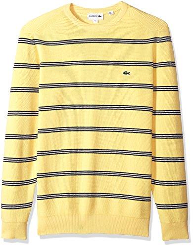 Lacoste Men's Long Sleeve Stripes Half Cardigan Rib Sweater, AH4548, Yellow/Dark Navy Blue/Flour, XXX-Large (Lacoste Cardigan Sweater Mens)