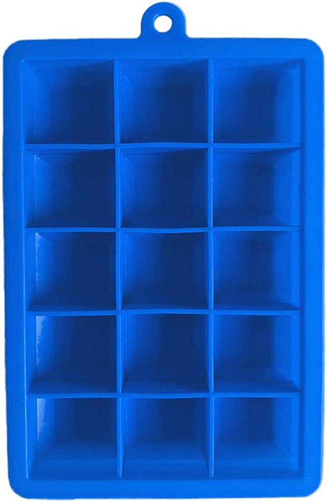 HTHJSCO 3 Pack Silicone Ice Cube Tray, Ice Cube Trays Molds, Easy Release Flexible Ice Cube Molds 15 Ice Cubes for Cocktail, Whiskey, Chocolate
