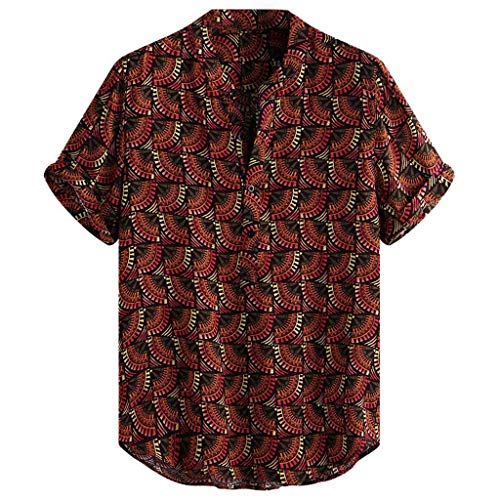 JJLIKER Men's Hipster Short Sleeve Shirts Leopard Print Button Down Casual Tees Shirts Beach Hawaiian Shirt with Pockets