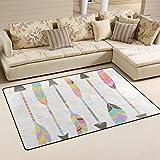 WellLee Area Rug,Pastel Stylized Tribal Feather Arrows Floor Rug Non-slip Doormat for Living Dining Dorm Room Bedroom Decor 60x39 Inch