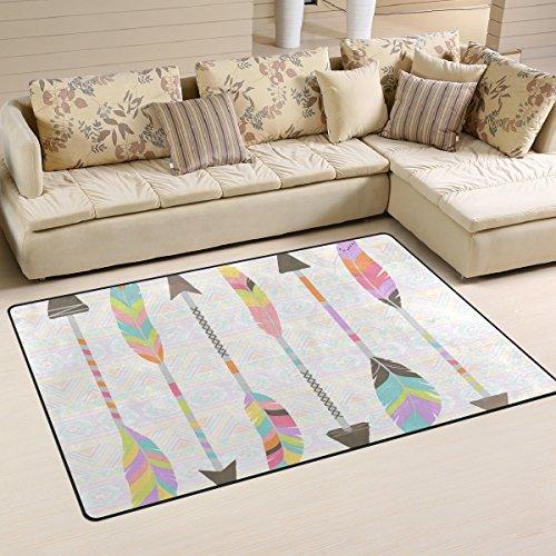 - WellLee Area Rug,Pastel Stylized Tribal Feather Arrows Floor Rug Non-slip Doormat for Living Dining Dorm Room Bedroom Decor 60x39 Inch