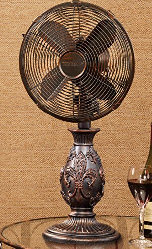 23'' French Style Fleur-de-Lis Accent Oscillating Table Top Fan by CC Home Furnishings