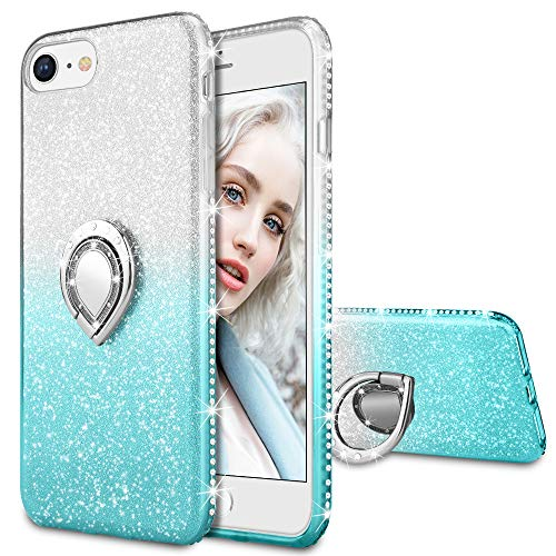 one 8, iPhone 7 Glitter Case Shiny Bling Diamond Rhinestone Kickstand Ring Grip Holder Ultra Thin Pretty Girls Women Case Cover for iPhone 6/6s/7/8 4.7 inches (Silver&Teal) ()