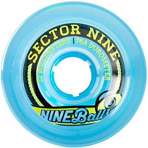 (Sector 9 Top Self Nine Balls Skateboard Wheel, Blue, 72mm)
