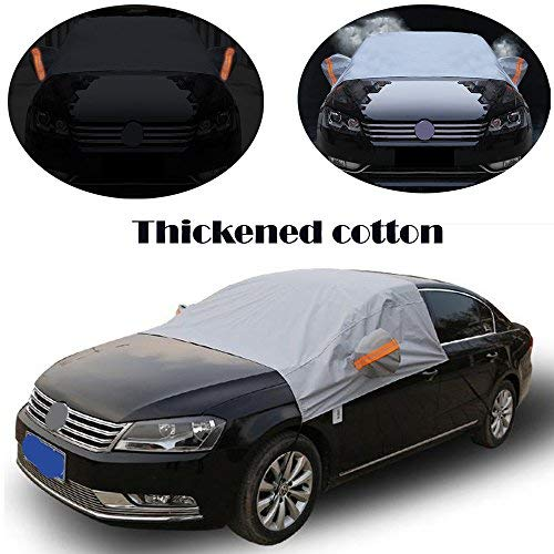 HOMEYA Windshield Snow Cover, Universal Fit Waterproof Automotive Sunshade Thickened Cotton, Half Body SUV CRV Truck Windshield Snow Tarp Durable Car Cover UV ICE Frost Dust Sunshade Protection ()