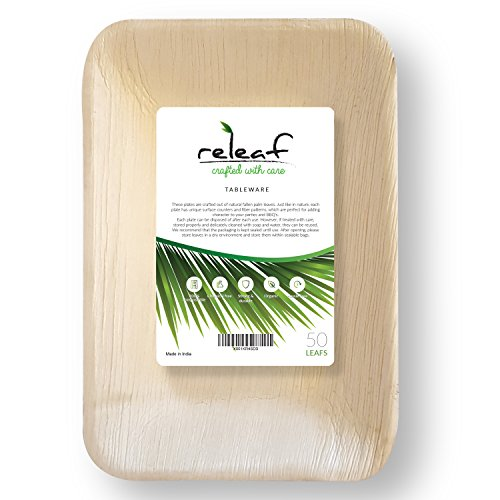 Elegant Leaf - 50 Rectangular Palm Leaf Plates| 9'' by 6''| Elegant and Hassle-Free| Natural Alternative to Paper or Plastic| Strong and Durable| Perfect for Parties| Buy 3 and Get 1 of Them Free