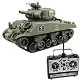 15 Channel 1:20 RC Tank USA Sherman M4A3 Main Battle Tank Model With Air-Soft(Green)