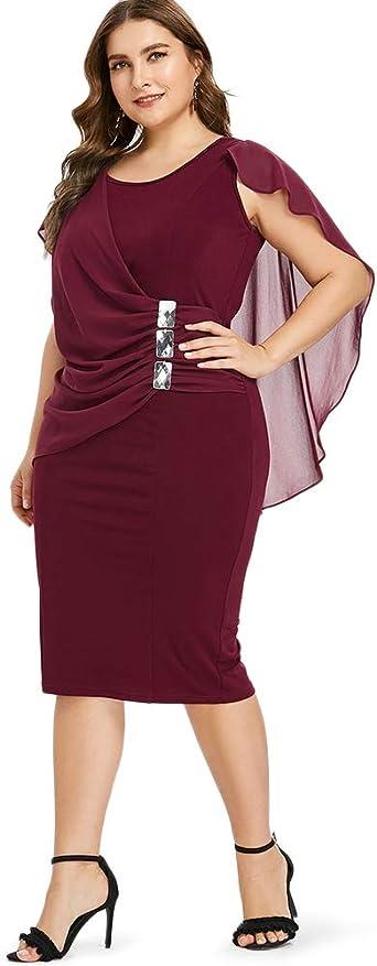 iDeesse Rose GAL Damska Kleid mit U-Ausschnitt, ärmellos, mit Strass, Übergröße - Rot - X-Groß: Odzież