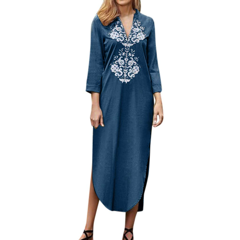 ♥ HebeTop ♥ Women's Ethnic Cotton V-Neck Short Sleeveless Linen Lace Dress Blue by HebeTop➟Women's Clothing