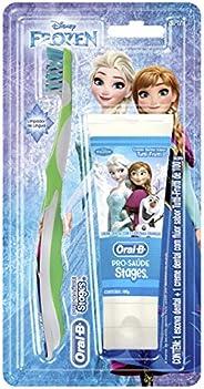 Oral-B Kit Escova mais Creme Dental Pro-Saúde Stages Frozen 100g, Cores Sortidas
