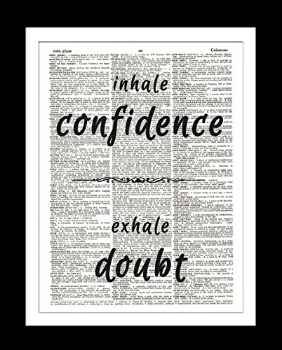 Confidence Doubt DICTIONARY ART PRINT - Inspirational Quotes - Wall Hanging Home Decor – Unframed Upcycled Vintage Dictionary Page Art Prints