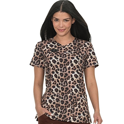 Print Medical Scrub - KOI Prints Women's Serena Y-Neck Animal Print Scrub Top Medium Print