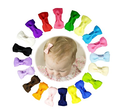Sunflower-QD 20Pcs Mini Snap Hair Bow Clips,Grosgrain Barrettes for Baby (1.25' Ribbon)