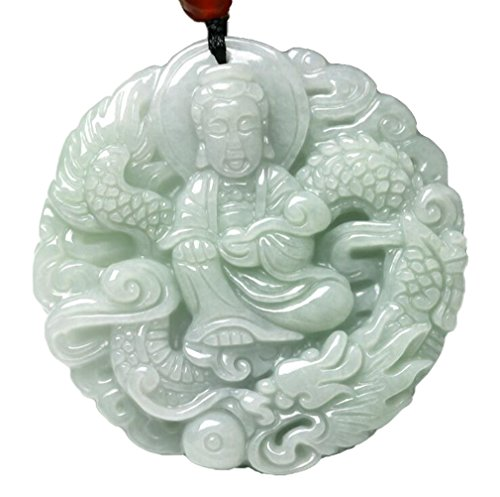Kuan Yin Pendant - Nature Jadeite Hisui Jade Grade A Kuan-yin Kannon Guanyin Statue Necklace Pendants