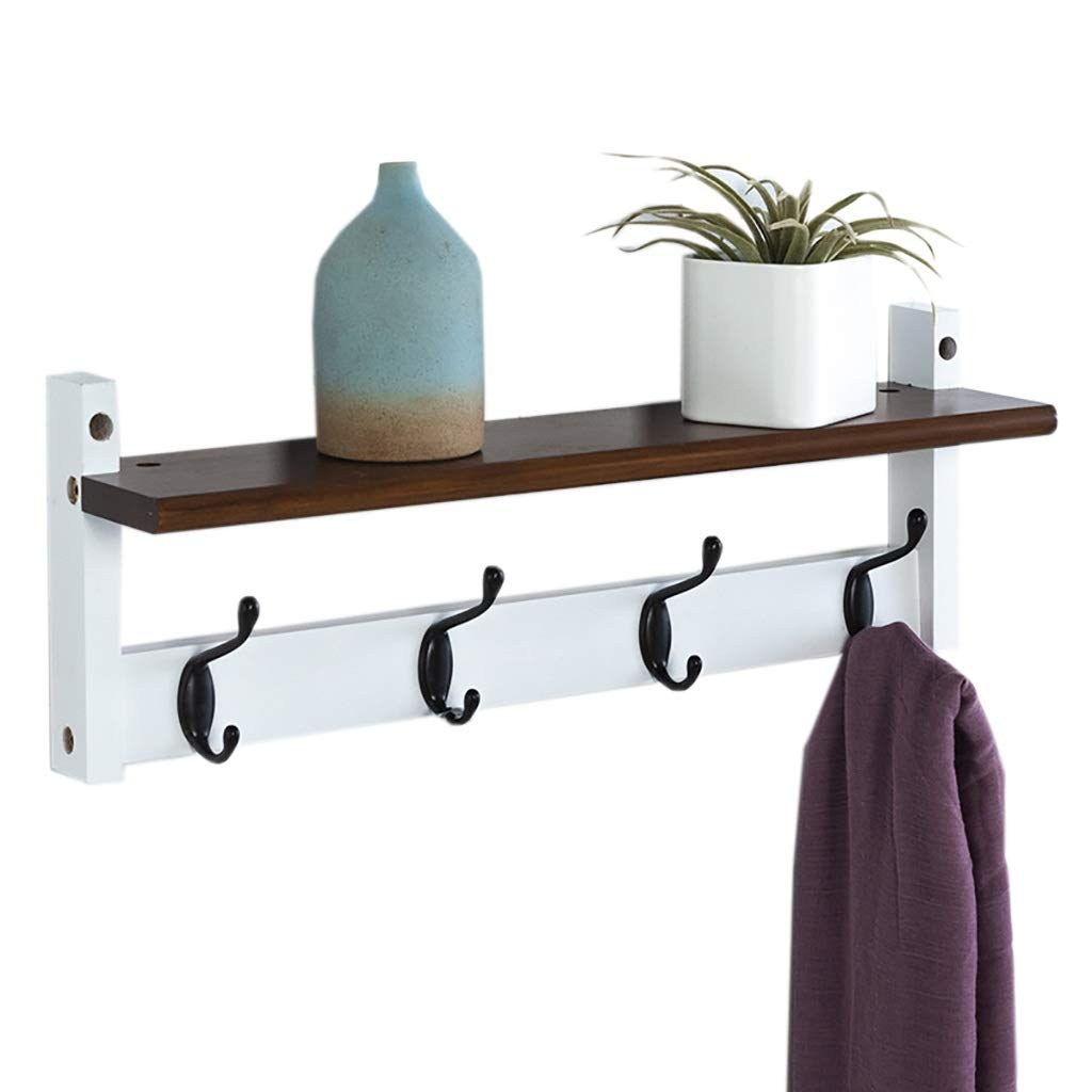 A Coat Hook Hanger Wall Hanging Coat Rack Multifunctional Hook Rack Wooden Hanger(52cm12cm8cm) (color   C)