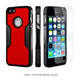 iPhone SE Case, for iPhone 5s 5 SE (Black Red) SaharaCase Protective Kit Bundled with [ZeroDamage Tempered Glass Screen Protector] Slim Fit Rugged Protection Case Shockproof Bumper Hard Back
