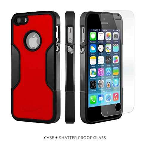 iPhone SE Case, for iPhone 5s 5 SE (Black Red) SaharaCase Protective Kit Bundled with [ZeroDamage Tempered Glass Screen Protector] Slim Fit Rugged Protection Case Shockproof Bumper Hard Back by Sahara Case