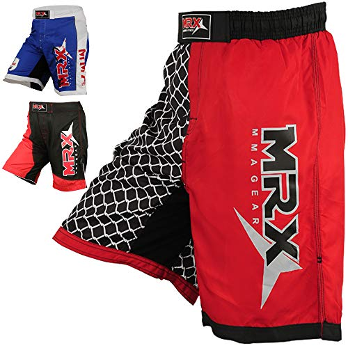 (MRX MMA Men's Fight Shorts for Cage Fighting Grappling BJJ Sports Active Short Kickboxing Muay Thai Boxing Trunk (Netting - Medium) Red/Blk)