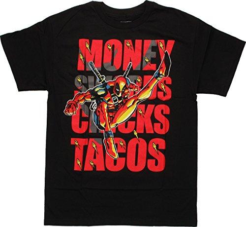 Deadpool Swords Tacos T-Shirt XX-Large